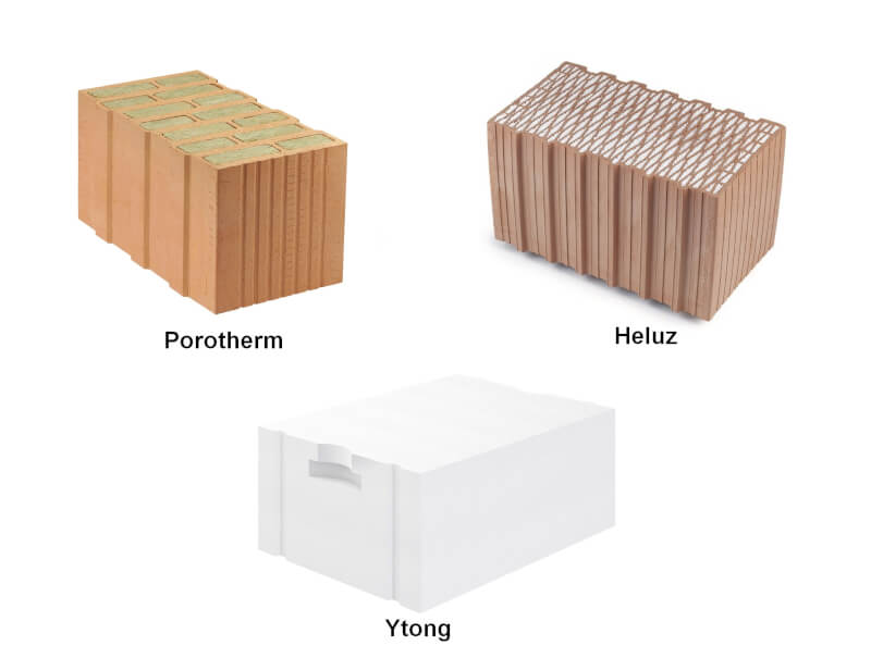 Porotherm s vatou uvnitř cihly, Heluz s polystyrenem uvnitř a Ytong z plynosilikátu.