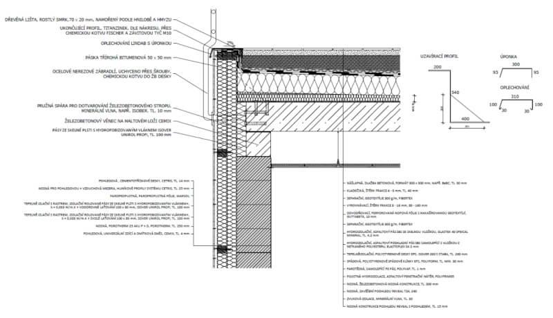 Detail zábradlí terasy